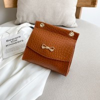 Synthetic Leather Crocodile Pattern Luxury Color Women Shoulder Bag - Brown