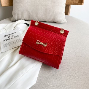 Synthetic Leather Crocodile Pattern Luxury Color Women Shoulder Bag - Red