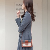 Synthetic Leather Magnetic Buckle Chocolate Color Women Shoulder Bag - Black And White