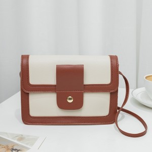 Synthetic Leather Magnetic Buckle Chocolate Color Women Shoulder Bag - White