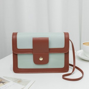 Synthetic Leather Magnetic Buckle Chocolate Color Women Shoulder Bag - Green