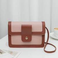 Synthetic Leather Magnetic Buckle Chocolate Color Women Shoulder Bag - Pink