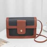 Synthetic Leather Magnetic Buckle Chocolate Color Women Shoulder Bag - Black