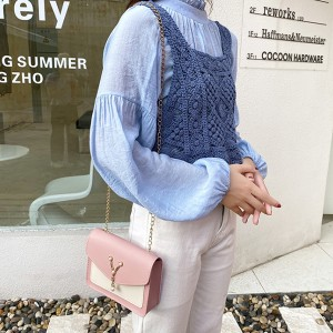 Synthetic Leather Magnetic Buckle Diagonal Pearl Chain Women Messenger Bag - Pink