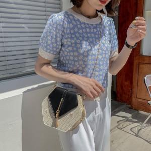 Women Fashion Hexagon Rattan Straw Handbag - Black