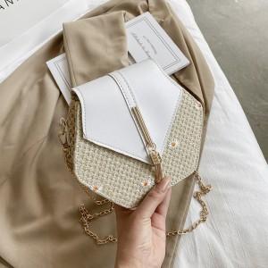 Women Fashion Hexagon Rattan Straw Handbag - White