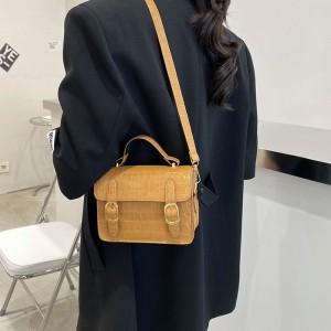 Crocodile Design Girls Fashion Simple Handbag - Light Brown