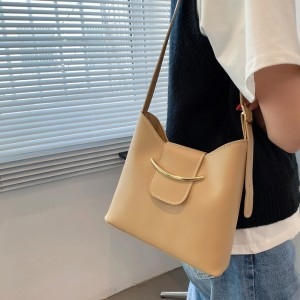 Solid Color Women Fashion One Side Handbag - Khaki