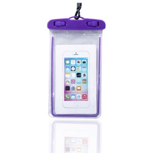 High Quality Plastic Waterproof Bag Case Touchable For All Phones - Purple
