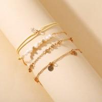 Gold Plated Four Pieces Women Fashion Bracelet Jewellery Set - Golden