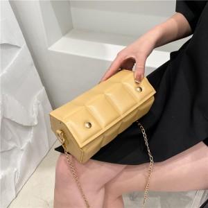 Solid Color Unique Shape Geometric Shoulder Bag - Yellow