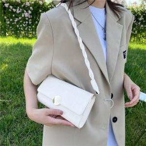 Braid Strip New Fashion Simplicity Women Handbag - Cream White