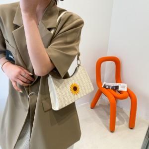 Fashion Design Straw Daisy Flower Women Bag - Beige