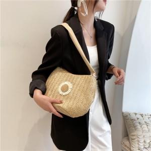 Women Fashion Daisy Design Shoulder Bag - Khaki