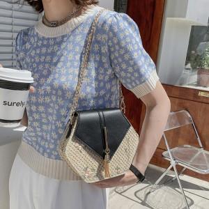 Women New Fashion Hexagon Rattan style Shoulder Bag - Black