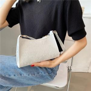 New Embossed Texture Underarm Shoulder Bag - White