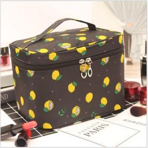 Fruit Printed Zipper Closure Travel Cosmetics Bags - Black
