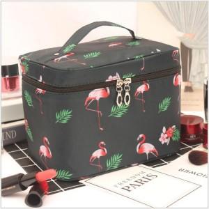 Animal Printed Zipper Closure Travel Cosmetics Bags - Green