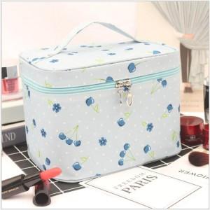 Graphic Printed Zipper Closure Travel Cosmetics Bags - Light Blue