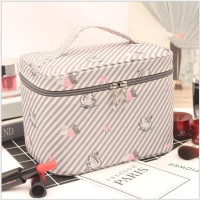 Solid Color Leaves Printed Zipper Closure Travel Cosmetics Bags - Multi Color