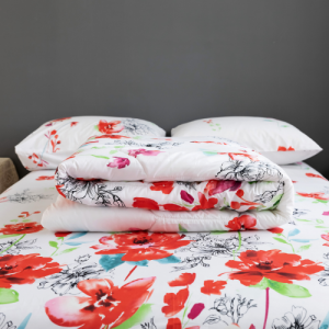Floral Design Comforter With Flat Sheet and Large Pillow Case 4 Pieces Set - White Red