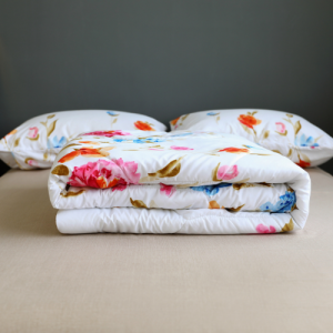 Floral Design Comforter With Flat Sheet and Large Pillow Case 4 Pieces Set - White Pink