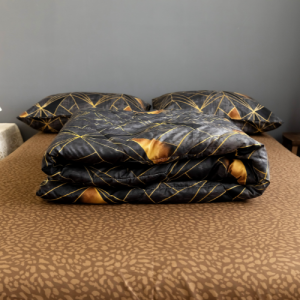 Geometric Design Comforter With Flat Sheet and Large Pillow Case 4 Pieces Set - Coffee Brown