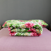 Floral Design Comforter With Flat Sheet and Large Pillow Case 4 Pieces Set - Green