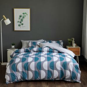 King Size Wave Design Yale 6 PCs Bedding Set - Blue