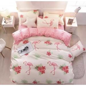 Single Size 4 PCs Bedding Set Cream Color Flamingo Design