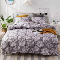King Size Leaves Design 6 PCs Bedding Set - Brown