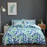 Queen / Double Size Leaves Design 6 PCs Bedding Set - Sea Green