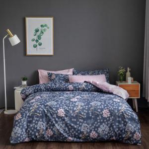 Queen / Double Size Flowers Design 6 PCs Bedding Set - Denim Blue