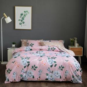 Queen / Double Size Flowers Design 6 PCs Bedding Set - Pink