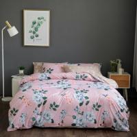 King Size Flowers Design 6 PCs Bedding Set - Pink