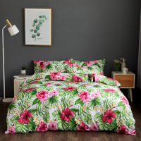 Queen / Double Size Flower and Leaves Design 6 PCs Bedding Set - Green