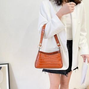 Retro New Trendy Women Fashion Handbag - Brown