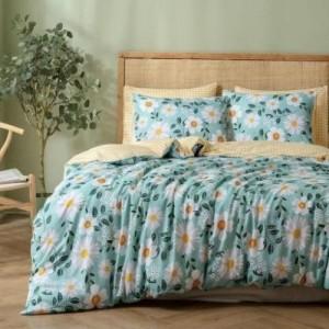 King Size Chamomile Design 6 PCs Bedding Set - Green