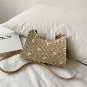 Daisy Flower Design Women Handbag - Light Khaki