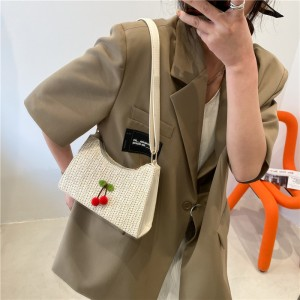 Cheery Square Woven Women Shoulder Bag - Beige