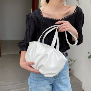 Retro Simple Pleated Cloud Underarm Shoulder Bag - White