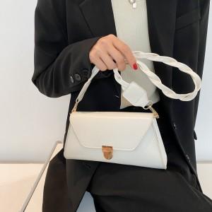 Temperament Elegant Armpit Single Lock Shoulder Bag - White