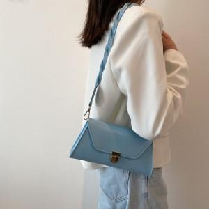 Temperament Elegant Armpit Single Lock Shoulder Bag - Blue