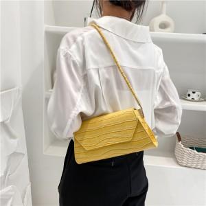 Crocodile Print PU Leather Crossbody Handbags - Yellow