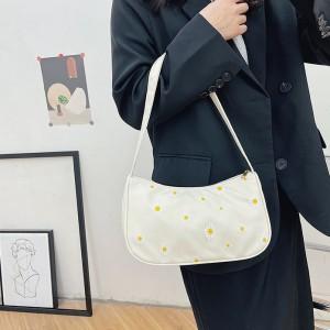Women Fashion Small Daisy Underarm Shoulder Bag - White