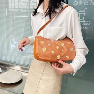 Women Fashion Small Daisy Underarm Shoulder Bag - Brown
