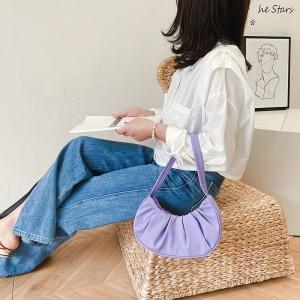 Wrinkled Retro Pleated Cloud Armpit Handle Bag - Purple