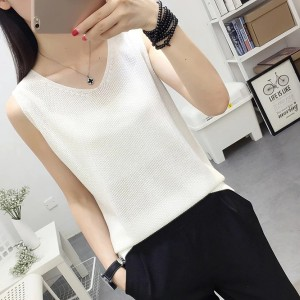 V Neck Loose Fitting Small Vest Outerwear Top - White