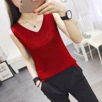 V Neck Loose Fitting Small Vest Outerwear Top - Burgundy