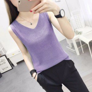 V Neck Loose Fitting Small Vest Outerwear Top - Purple